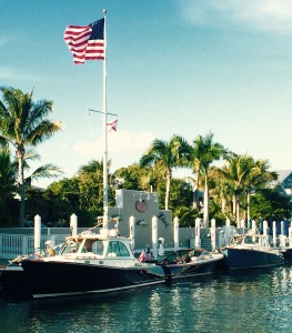 Boca grande boats with flags